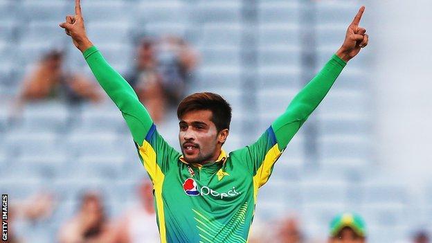 Mohammad Amir celebrates a wicket