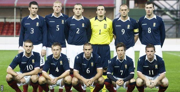 Steven Lennon lines up for Scotland Under-21s in September 2008