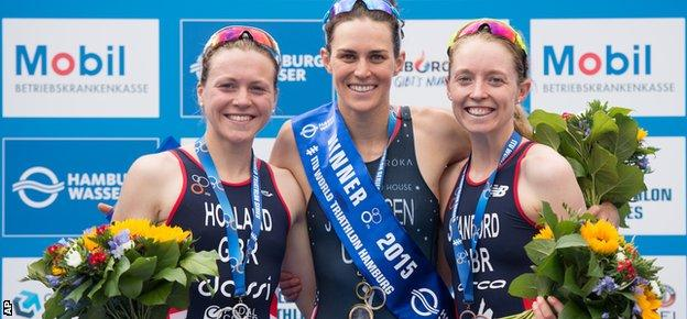 Non Stanford (far right) celebrates her Hamburg podium with winner Gwen Jorgensen and Vicky Holland