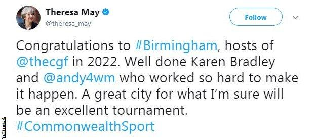 Theresa May tweets her congratulations