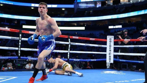 Luke Campbell knocks Ryan Garcia down