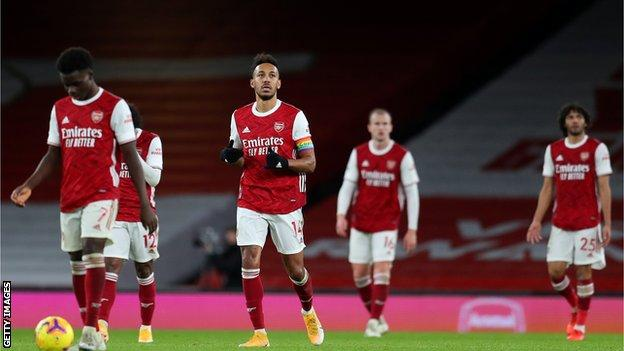 Arsenal's players react after conceding a goal in the Premier League