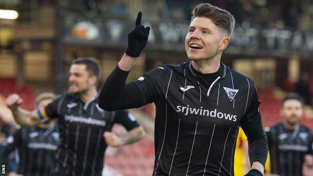 Kevin Nisbet celebrates scoring with Dunfermline