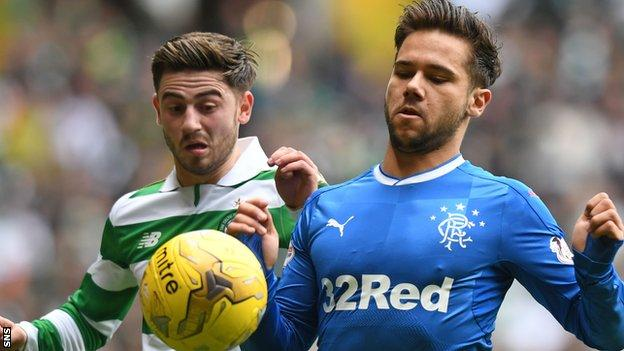 Harry Forrester (right) in action for Rangers against Celtic