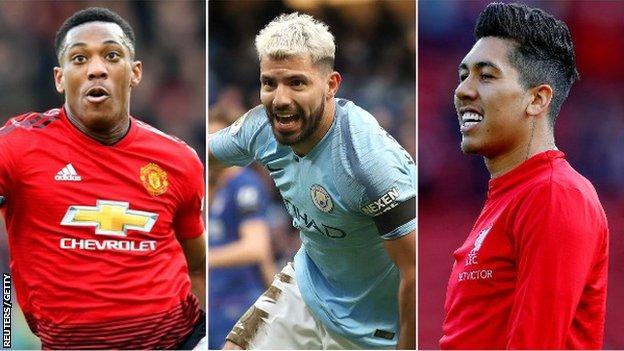 Roberto Firmino (Liverpool), Sergio Aguero (Man City), Anthony Martial (Man Utd)