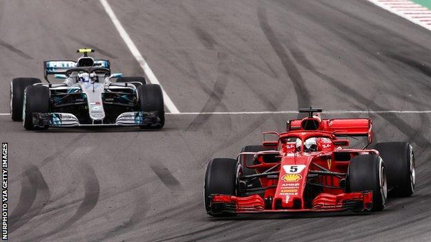 Sebastian Vettel overtakes Valtteri Bottas