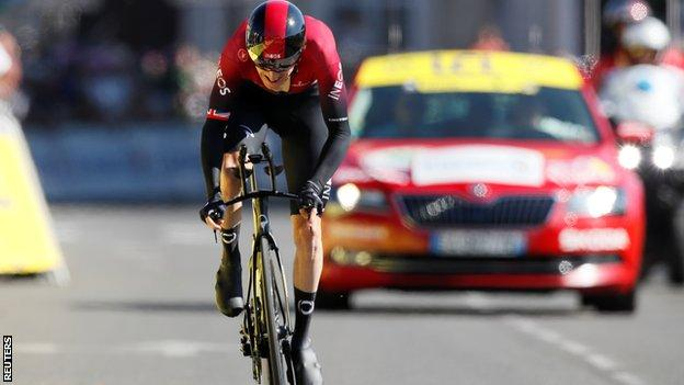 Geraint Thomas trailed Julian Alaphilippe by one minute and 12 seconds before the start of stage 13