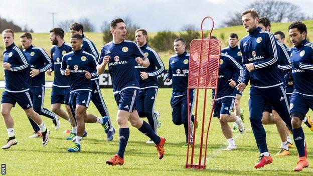 Scotland players in training
