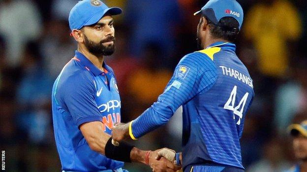 India captain Virat Kohli and Sri Lanka skipper Upul Tharanga shake hands after the one-day series