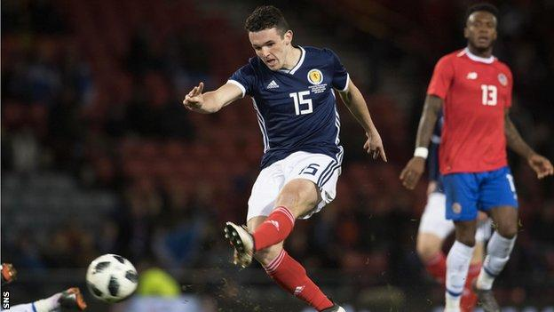 John McGinn playing for Scotland against Costa Rica
