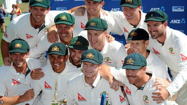 Australia cricket team celebrate defeating New Zealand in the second test match at Hagley Park Oval in Christchurch, New Zealand