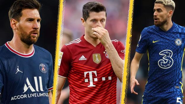 Lionel Messi (left), Robert Lewandowski (centre) and Jorginho
