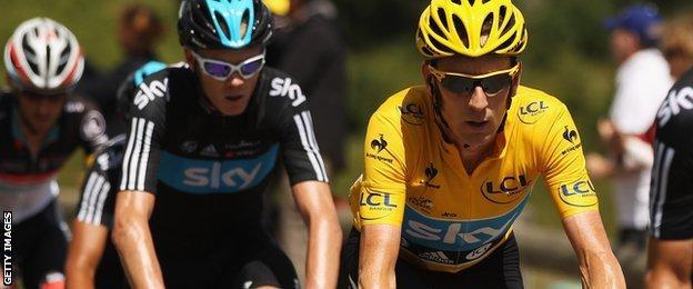 Chris Froome and Bradley Wiggins Tour de France 2012
