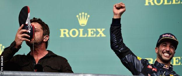 Ricciardo forces actor Gerard Butler to drink from his shoe