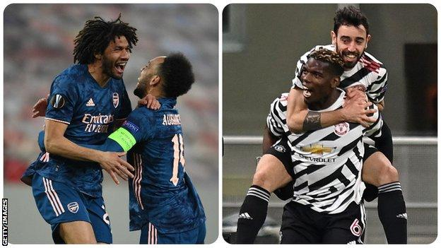 Mohamed Elneny and Paul Pogba celebrating
