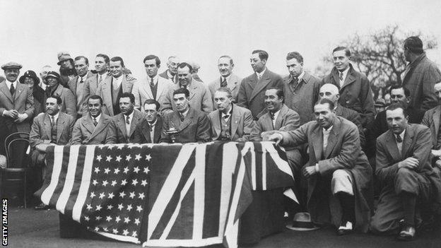 Group photo with the Ryder Cup teams of 1929