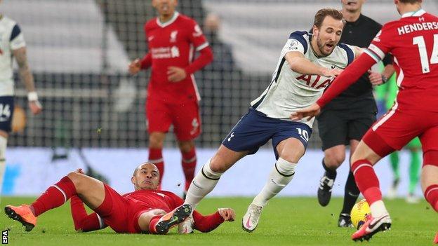 Spurs' Harry Kane is fouled by Thiago Alcantara