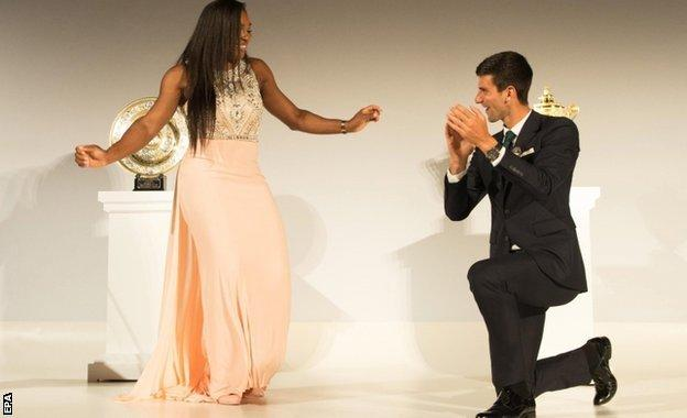 Wimbledon champions Serena Williams and Roger Federer