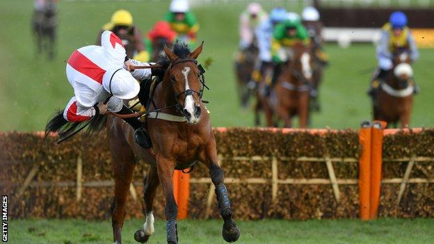 Jamie Moore was unseated from Goshen at the 2020 Cheltenham Festival
