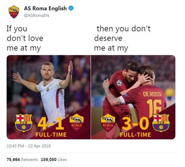 Roma's twitter account celebrates their comeback against Barcelona