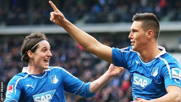Niklas Sule (right) celebrates a Hoffenheim goal with Sebastian Rudy