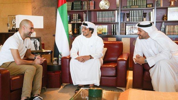 Pep Guardiola with Sheikh Mansour and Khaldoon Al Mubarak