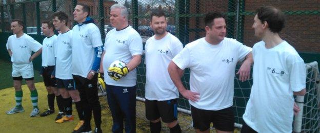 BBC Radio 6 Music DJ Chris Hawkins and his FA People's Cup team