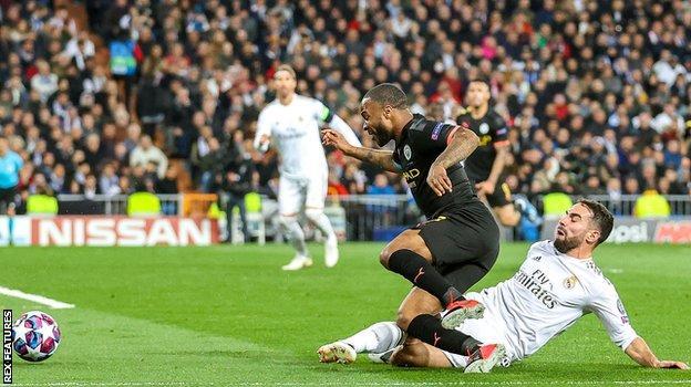 Daniel Carvajal fouls Raheem Sterling to concede a penalty