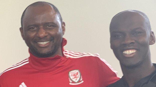 Pa-Modou Kah (right) with Patrick Vieira