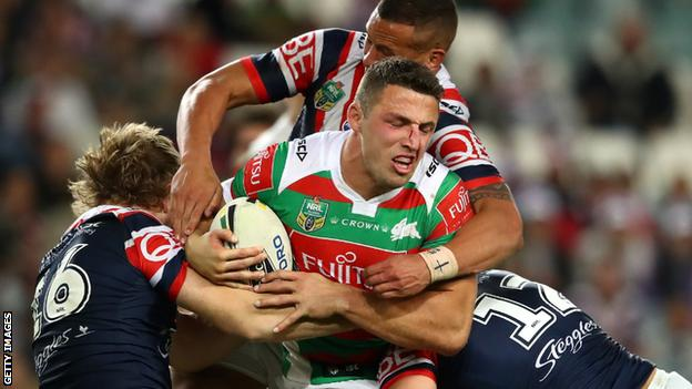 Sam Burgess playing against Sydney Roosters in 2017
