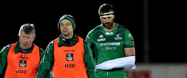 Connacht's Andrew Browne, who had just returned from an Achilles injury, was replaced after 15 minutes