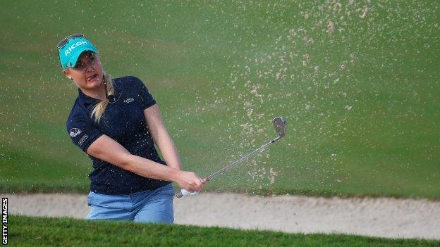 England's Charley Hull plays out of a bunker