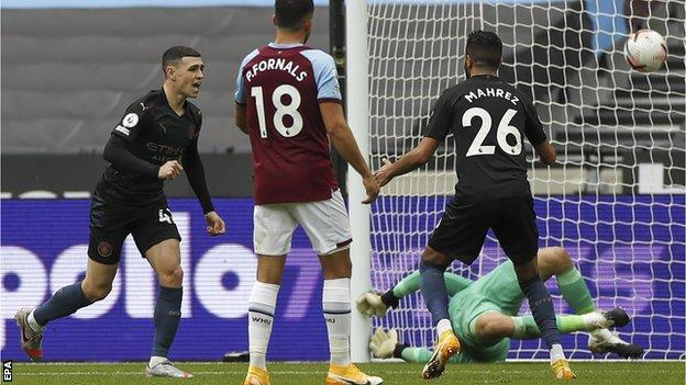 Phil Foden celebrates scoring for Manchester City against West Ham