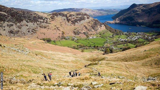Walkers near Ullswater Lake, Lake District