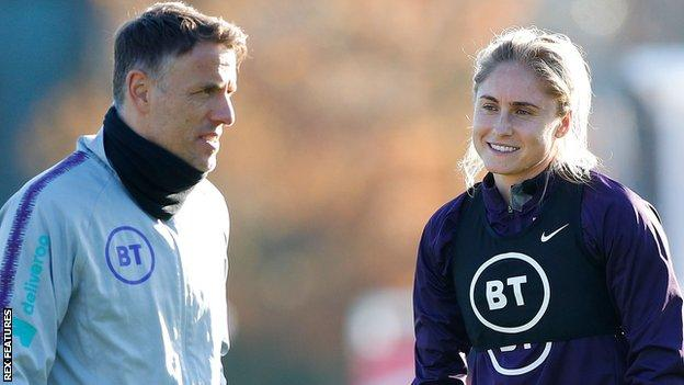 Phil Neville and England captain Steph Houghton