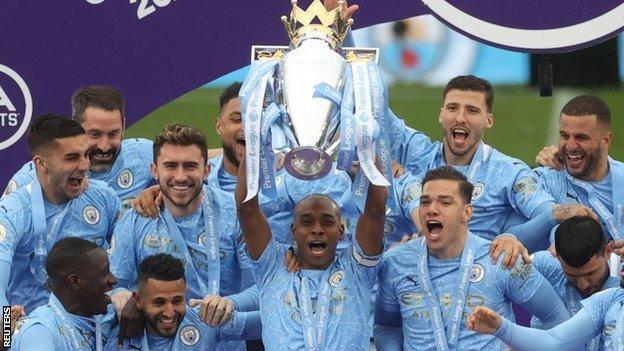 Fernandinho with the Premier League trophy