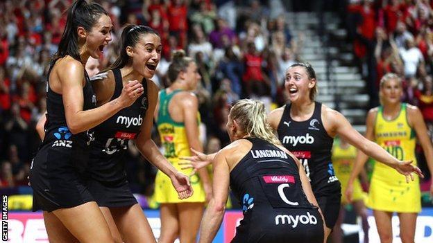 New Zealand celebrate winning the 2019 Netball World Cup