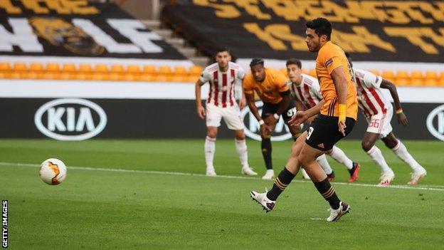 Raul Jimenez scores Wolves' opener against Olympiakos