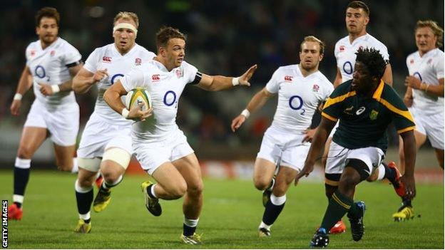 Alex Lewington carries the ball for the England Saxons against South Africa in 2016