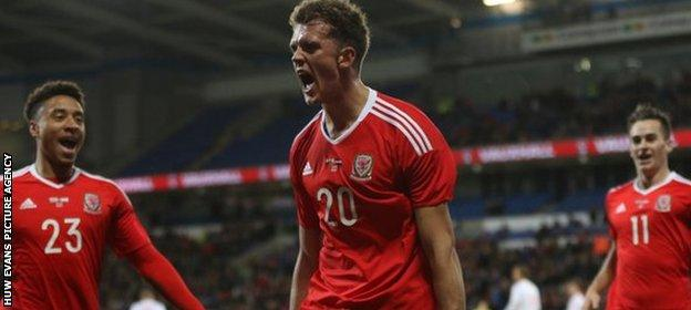 Emyr Huws celebrates his goal against the Netherlands