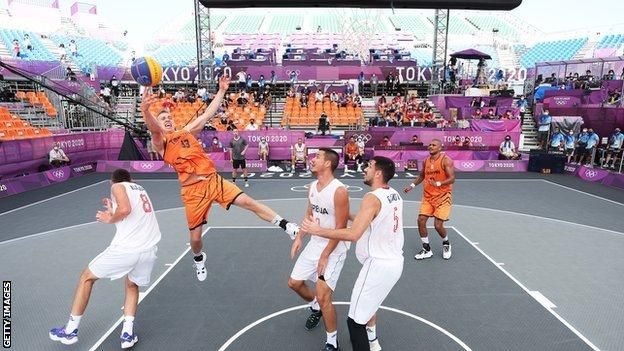 Men's 3x3 competition featuring Serbia and Netherlands
