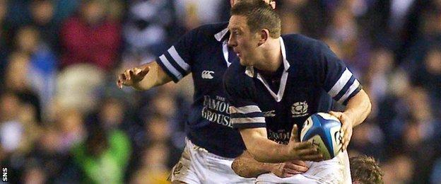 Brendan Laney in action for Scotland against England
