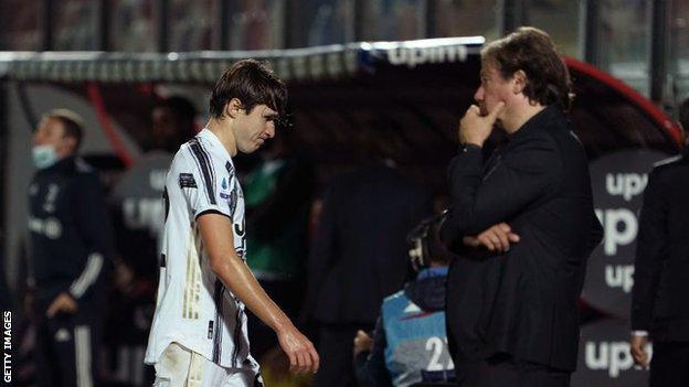 Juventus' Federico Chiesa is sent off