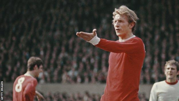 Denis Law in action for Manchester United in 1969