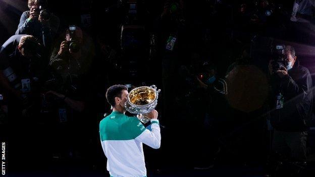 Novak Djokovic with the trophy