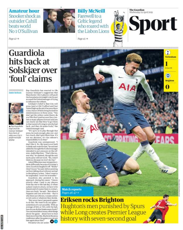 Guardian's sport page