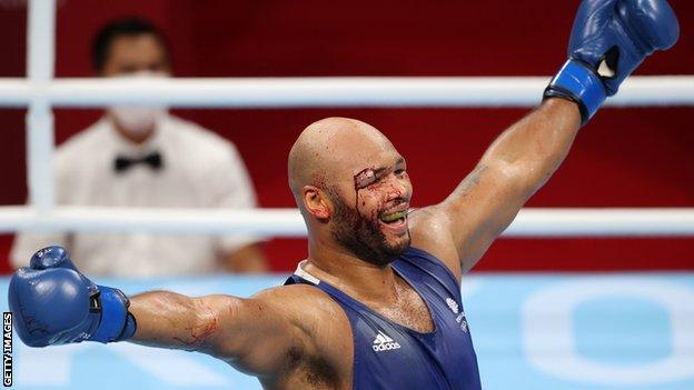 Frazer Clarke celebrates winning bronze