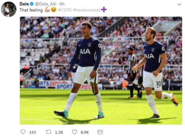 Dele Alli celebrates scoring on Twitter