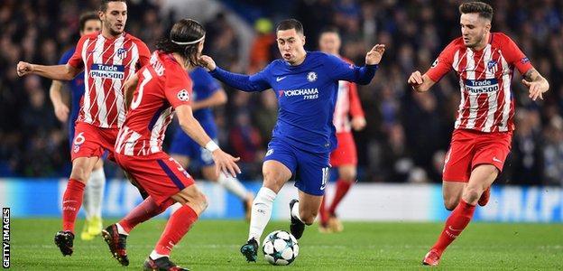 Eden Hazard takes on Atletico Madrid
