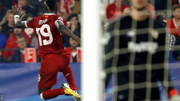 Sadio Mane celebrates scoring for Liverpool against Sevilla in the Champions League